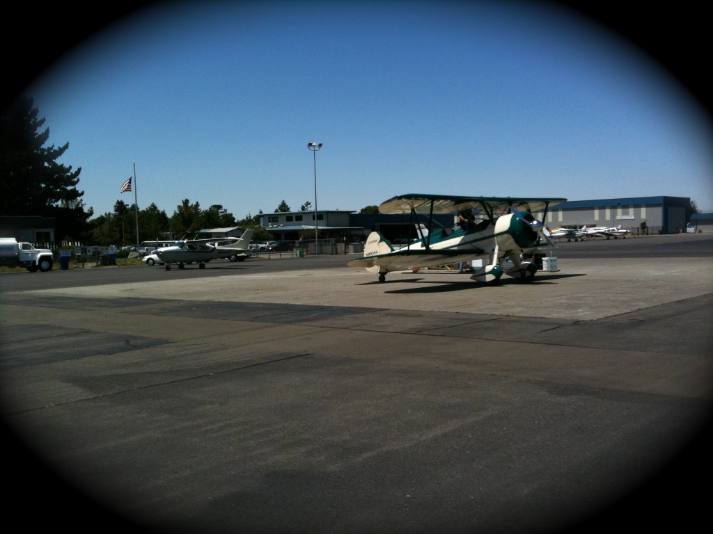 Stearman biplane and Petaluma Airport (O69)