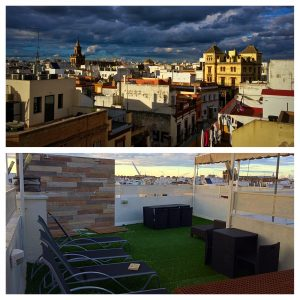 1. The rooftop terrace of our AirBnb apartment in Sevilla, Spain (2016)